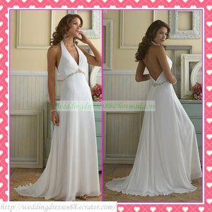 Free Shipping Halter White Chiffon Empire Maternity Bridal Gown Ruffled Beaded Wedding Dress H053