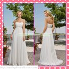 Free Shipping Strapless White Chiffon Empire Maternity Bridal Gown Ruffled Beaded Wedding Dress H055