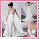 Free Shipping One Shoulder White Chiffon Empire Maternity Bridal Gown Applique Beaded Wedding Dress