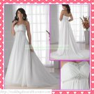 Free Shipping Strapless White Chiffon Empire Maternity Ruffled Beaded Wedding Dress H059