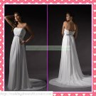 Free Shipping Strapless White Chiffon Empire Maternity Silver Belt Beaded Wedding Dress H060