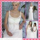 2012 Free Shipping Double Straps White Chiffon Empire Maternity Applique Beaded Wedding Dress