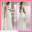 2012 Free Shipping Double Straps White Chiffon Empire Maternity Ruffled Beaded Wedding Dress