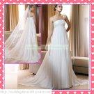 2012 Hot Sale Free Shipping Strapless White Chiffon Empire Maternity Ruffled Wedding Dress