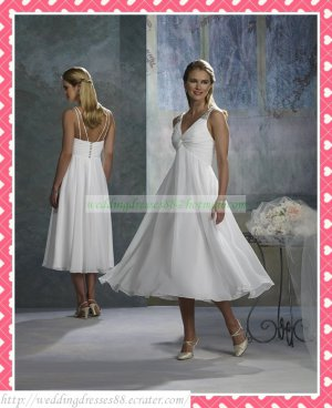 2012 Free Shipping Double Straps White Chiffon Empire Maternity Ruffled Beaded Short Wedding Dress