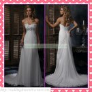 2012 Hot Sale Free Shipping Strapless White Chiffon Empire Maternity Applique Wedding Dress H067