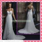 2012 Free Shipping Strapless White Chiffon Empire Maternity Ruffled Beaded Wedding Dress H068