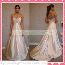 Strapless White Satin Empire Maternity Applique Beaded Wedding Dress Bridal Gown H070