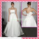 Strapless White Satin Empire Maternity Bridal Dress Ruffled Beaded Wedding Dress Bridal Gown