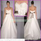 Strapless White Organza Brown Belt Empire Maternity Bridal Dress Ruffled Beaded Wedding Dress H075