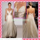 Double Spaghetti Ivory Organza Champagne Belt Empire Maternity Ruffled Beaded Lace Wedding Dress