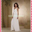 Double Straps V-neck  White Chiffon Empire Maternity Beaded Wedding Dress H079