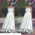 Strapless White Satin Empire Maternity Bridal Dress Lace Beaded  Wedding Dress BrIdal Gown