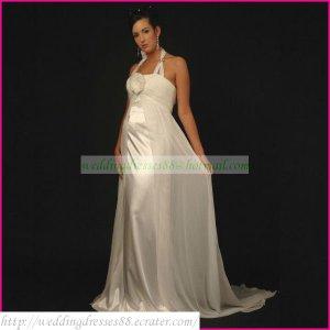 Halter White Chiffon Stretch Satin Empire Maternity Bridal Dress Ruffled Hand Flower Wedding Dress