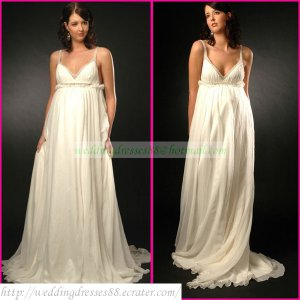 Double Straps White Chiffon Empire Maternity Bridal Dress Ruffled Applique Beaded Wedding Dress H098