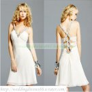 2012 Hot Sale Double Straps White Chiffon Ruffled Beaded Cocktail Dress Homecoming Dress C026