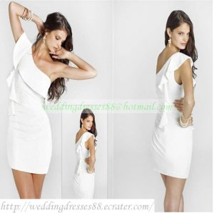 2012 Hot Sale One Shoulder White Chiffon Satin Ruffled Cocktail Dress Homecoming Dress C028