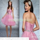 2012 Double Spaghetti Pink Organza Ruffled Beaded Cocktail Dress Homecoming Dress C030