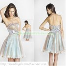 2012 Hot Sale Strapless Brown Organza Ruffled Beaded Cocktail Dress Homecoming Dress C034