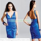 2012 Hot Sale Double Straps Blue Stretch Satin Ruffled Beaded Cocktail Dress Homecoming Dress C038