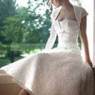 Strapless White Venice Lace  Wedding Dress Tea-length Wedding Dress With Jacket
