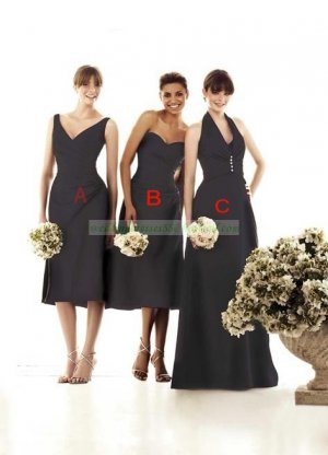 Halter Brown Taffeta Ruffled Floor-length Bridesmiad Dress Evening Dress B1-C