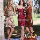 Strapless Amaranthine Taffeta Ruffled Tea-length Bridesmiad Dress Evening Dress B3-B