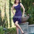 One Shoulder Dark Purple Satin Ruffled  Tea-length Bridesmiad Dress Evening Dress B6