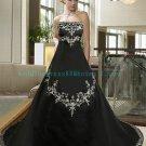 Hot Sale Strapless Black Satin Embroidery A-line Wedding Dress Bridal Dress  D12