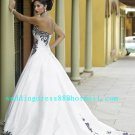 Hot Sale Strapless White Satin Black Lace Bridal Dress Princess Sweetheart Wedding Dress