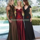 2012 Hot Sale Strapless Wine Satin Ruffled Flower Bridesmiad Dress Evening Dress B9-B
