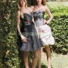 2012 Hot Sale  Strapless Black Organza White Taffeta Ruffled  Bridesmiad Dress Evening Dress B10-B