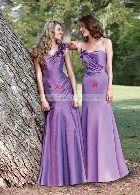 2012 Hot Sale One Shoulder Purple Taffeta Ruffled Bridesmiad Dress Evening Dress B11-A