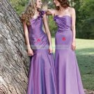2012 Hot Sale Strapless Purple Satin Ruffled Bridesmiad Dress Evening Dress B11-B