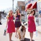 2012 Hot Sale Strapless Purple Taffeta Pink Belt Ruffled Tea-length Bridesmiad Dress B17-B