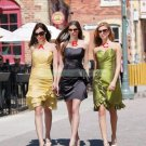 2012 Hot Sale Strapless Yellow Taffeta Ruffled Tea-length Bridesmiad Dress B18-A