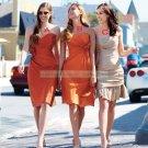 2012 Hot Sale Strapless Champage Satin Ruffled Beaded Tea-length Bridesmiad Dress B19-C