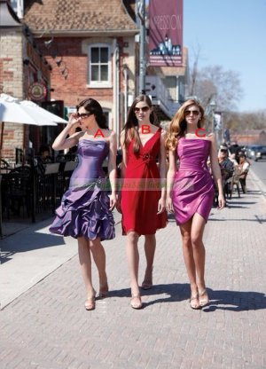 2012 Hot Sale One Shoulder Purple Red Satin Ruffled Tea-length Bridesmiad Dress B20-C