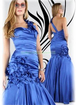 2012 Hot Sale One Shoulder Blue Stretch Satin Hand Flowers Evening Dress Party Dress E9
