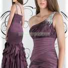2012 Hot Sale One Shoulder Coffee Taffeta Ruffled Beaded Evening Dress Party Dress E10
