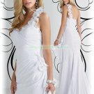 2012 Hot Sale One Shoulder White Chiffon Feather Ruffled Beaded Flowers Evening Dress Party Dress
