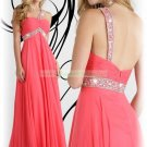 2012 Hot Sale One Shoulder Orange Red Chiffon Ruffled Beaded Empire Evening Dress Party Dress