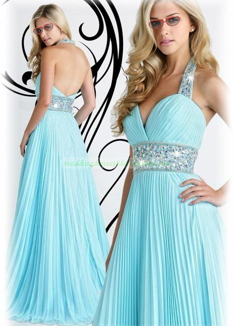 2012 Hot Sale Halter Blue Chiffon Ruffled Beaded Evening Dress Party Dress E15