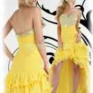 Free Shipping 2012 Hot Sale Strapless Yellow Chiffon Ruffled Beaded Evening Dress Party Dress E16