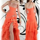 Free Shipping 2012 Hot Sale One Shoulder Orange Chiffon Ruffled Beaded Evening Dress Party Dress E17