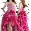 Free Shipping 2012 Hot Sale Strapless Red Organza Ruffled Beaded Evening Dress Party Dress E18