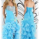 Free Shipping 2012 Hot Sale Strapless Blue Organza Ruffled Beaded Evening Dress Party Dress E19