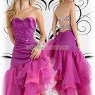 2012 Hot Sale Strapless Purple Stretch Satin Organza Ruffled Beaded Evening Dress Party Dress P1