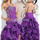 2012 Hot Sale Double Spaghetti Purple Organza Taffeta Ruffled Beaded Evening Dress Party Dress P3