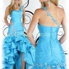 2012 Hot Sale One Shoulder Blue Organza Taffeta Ruffled Beaded Evening Dress Party Dress P4